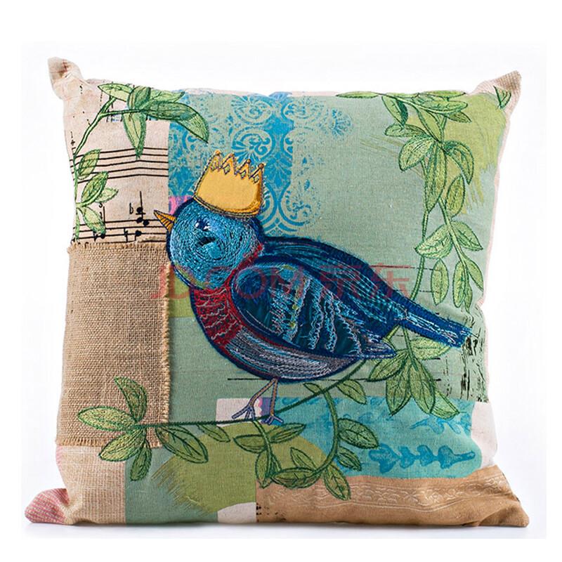 可立特 美式乡村 小鸟刺绣抱枕靠垫含芯 两款可选 da0879a-b款 鸟图片