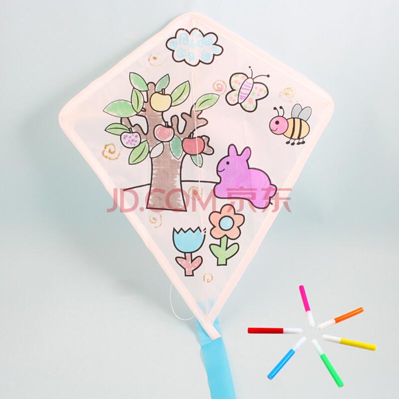 艺趣儿童手工制作空白手绘风筝绘画风筝diy小型风筝活动教学风筝 小