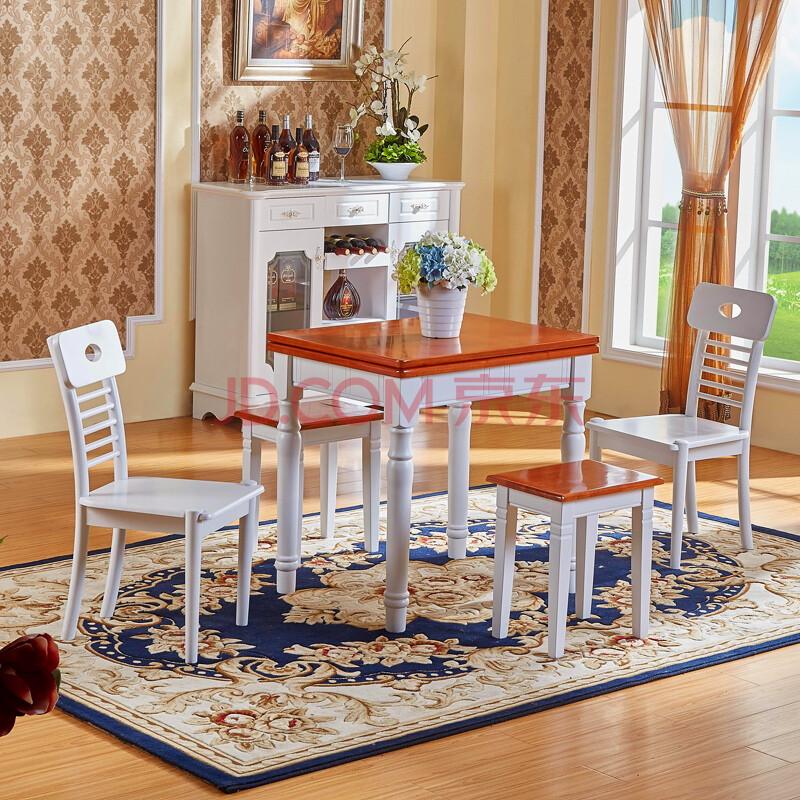 里米家具 欧式小户型餐桌折叠桌子实木可伸缩餐桌椅组合美式地中海