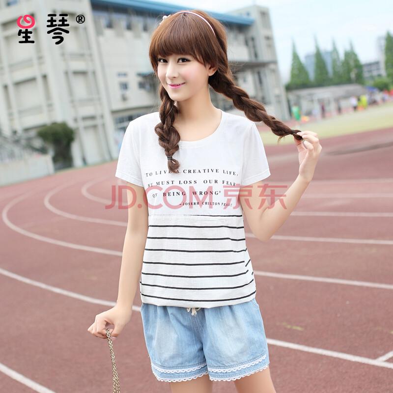 星琴 少女t恤2015新款 白色文字宽松薄款清新短袖 初高中学生夏装图片