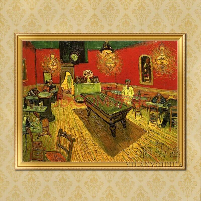 艺澜纯手绘油画临摹《夜晚的咖啡馆》室内景梵高欧式抽象油画fg47 纯