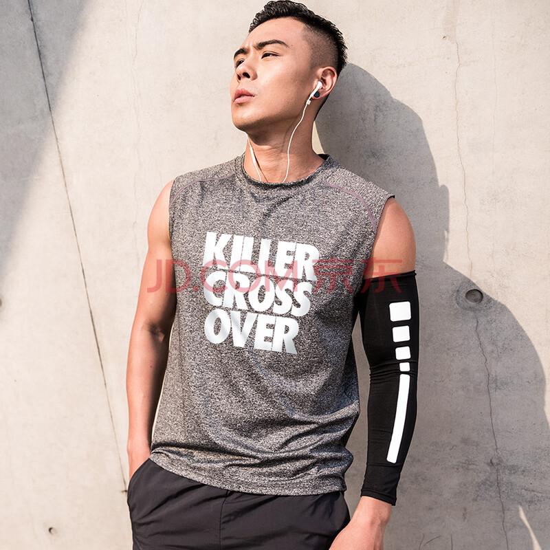 透明风运动速干篮球背心男健身跑步投篮t恤短袖训练服长袖衣服 坎肩-灰色(CROSSOVER) M码