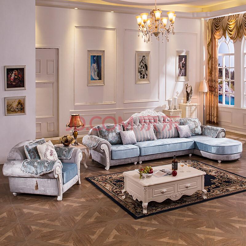 顾家邻居 沙发 布艺沙发 欧式布艺沙发组合 大户型简欧客厅沙发 实木图片