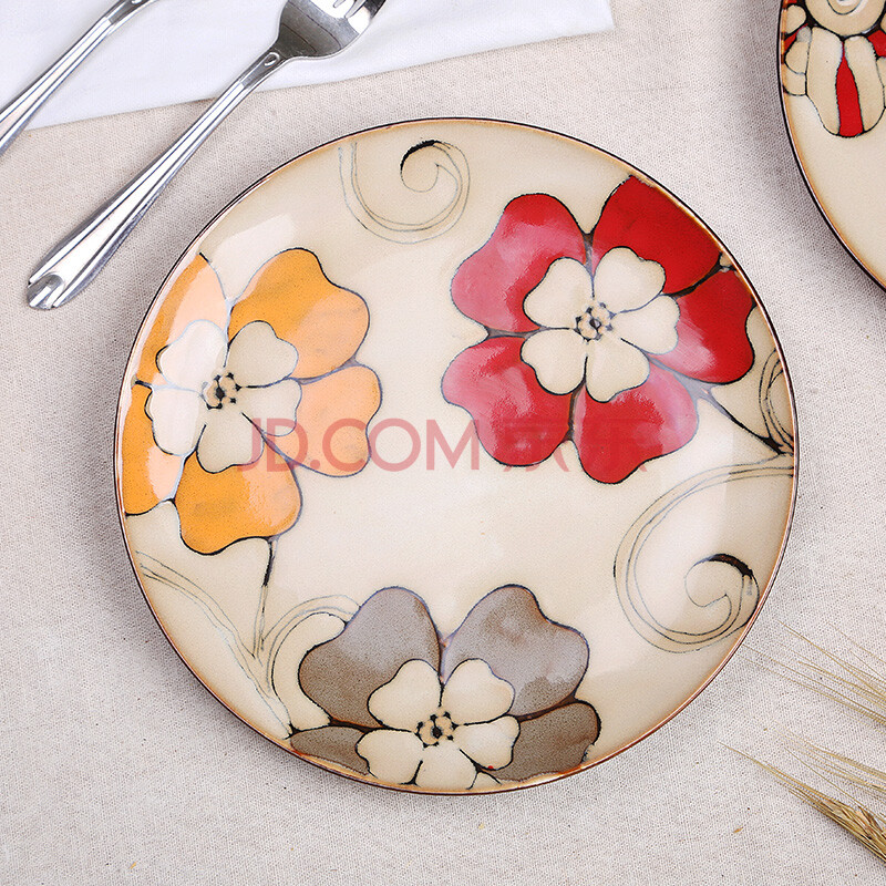 新品上市 手绘陶瓷盘子个性西餐盘创意特色鱼盘套装 复古平盘挂盘 3号