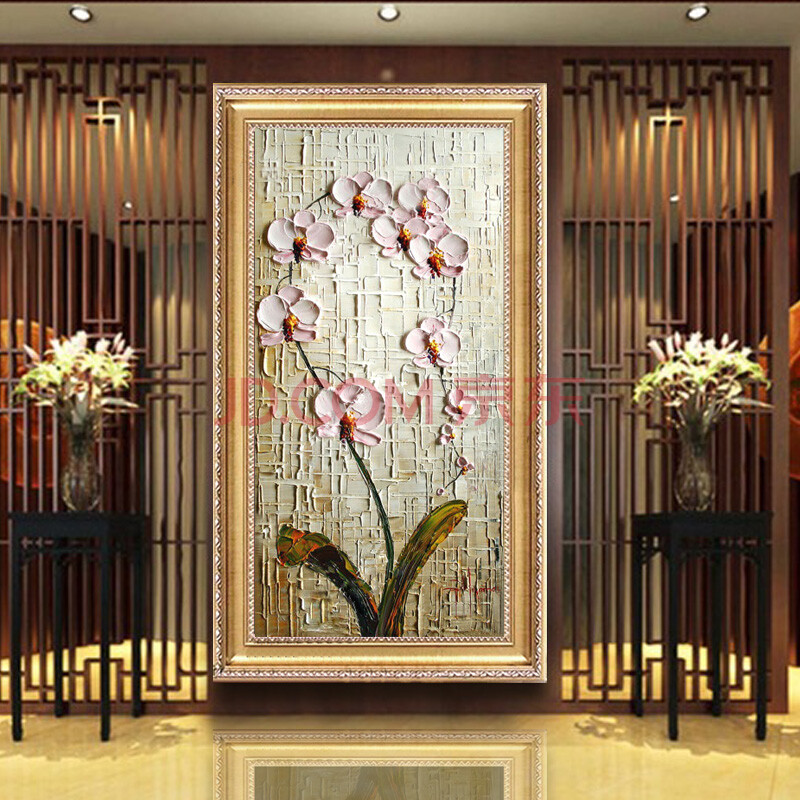 油画手绘欧式装饰画玄关抽象花卉挂画现代家居走廊时尚有框画高档竖版
