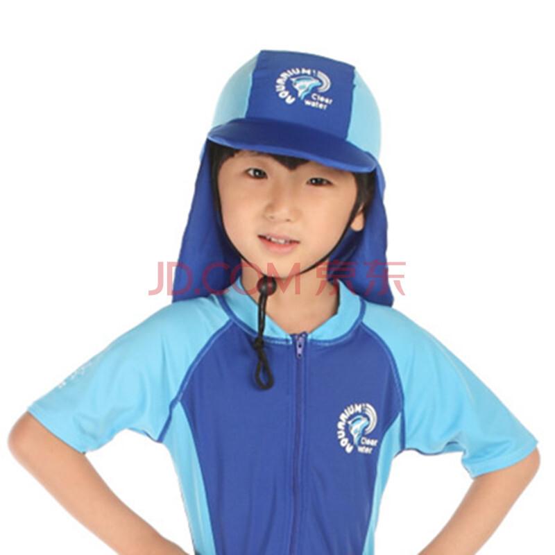 儿童抗紫外线泳帽 水陆两用沙滩防晒帽 弹性面料日本帽 带调节绳儿童保护伞