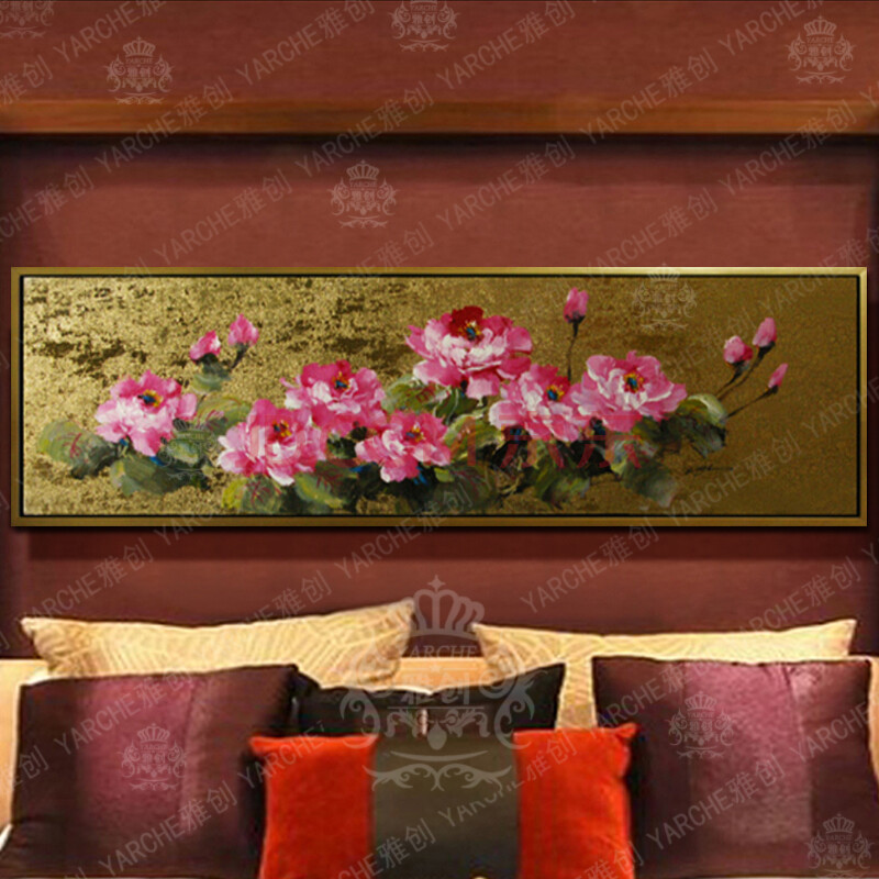雅创 现代中式泰式风格装饰画金箔画卧室客厅纯手绘油画抽象画牡丹 高