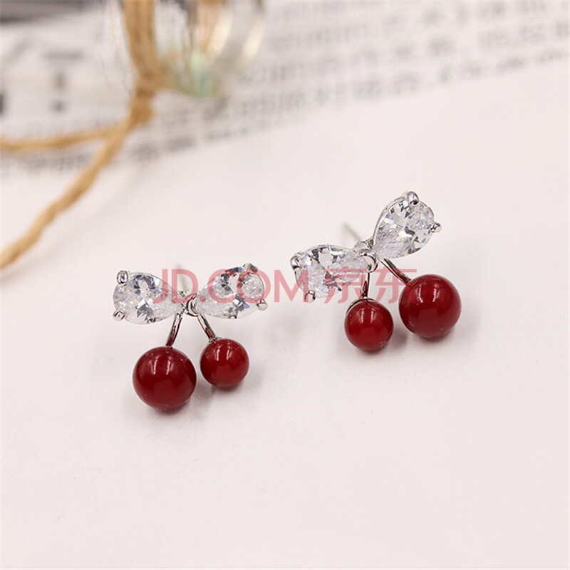 品范儿 时尚耳钉可爱红色小樱桃耳环925银耳针耳环