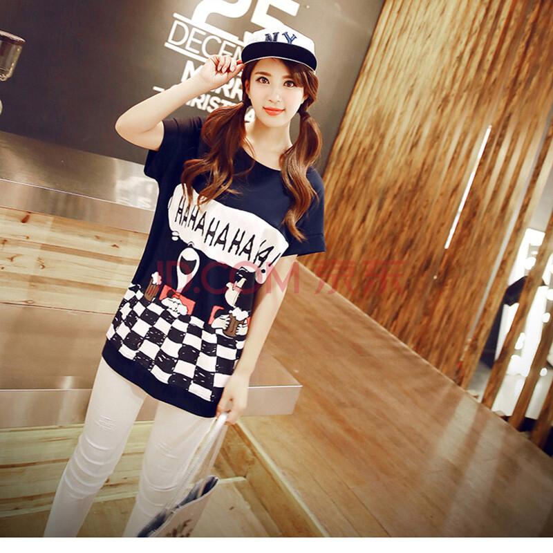 2015夏装新款韩版卡通印花学生短袖t恤女中长款 蓝色