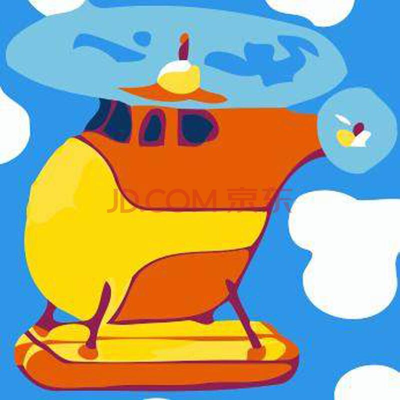 字油画卡通 直升飞机
