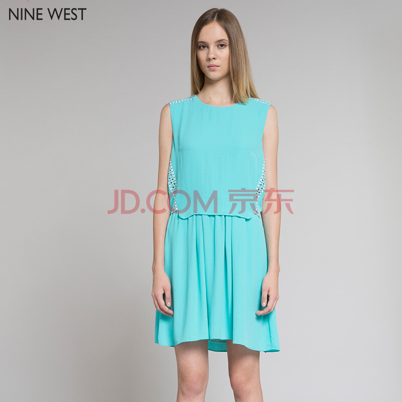 nine west 玖熙女装2015新款糖果色假两件无袖刺绣蕾丝连衣裙
