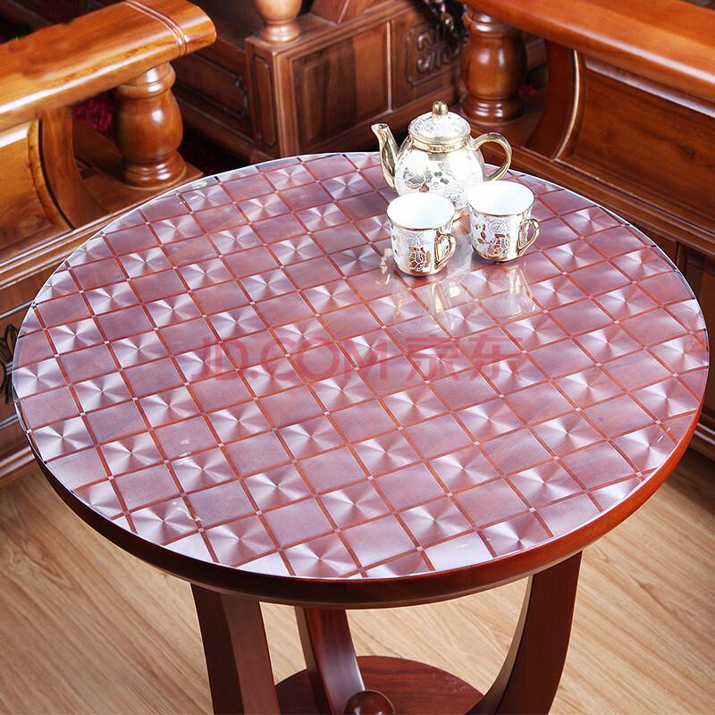 俊艺 软性材质玻璃圆桌桌布台布 防水防油免洗透明餐桌垫 pvc水晶板圆