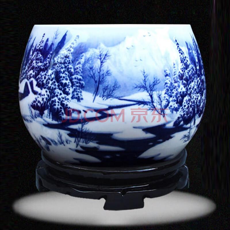 靓缘 景德镇陶瓷器 大师手绘青花瓷雪景台面花瓶 高档