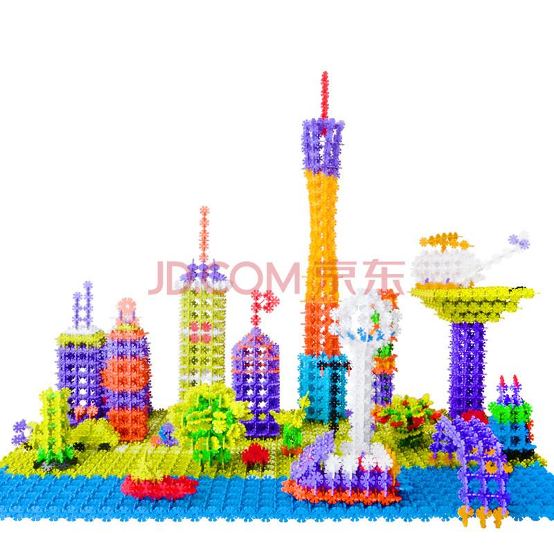 四喜人雪花片积木玩具10色加厚儿童塑料拼插拼装雪花片插片儿童拼图图片