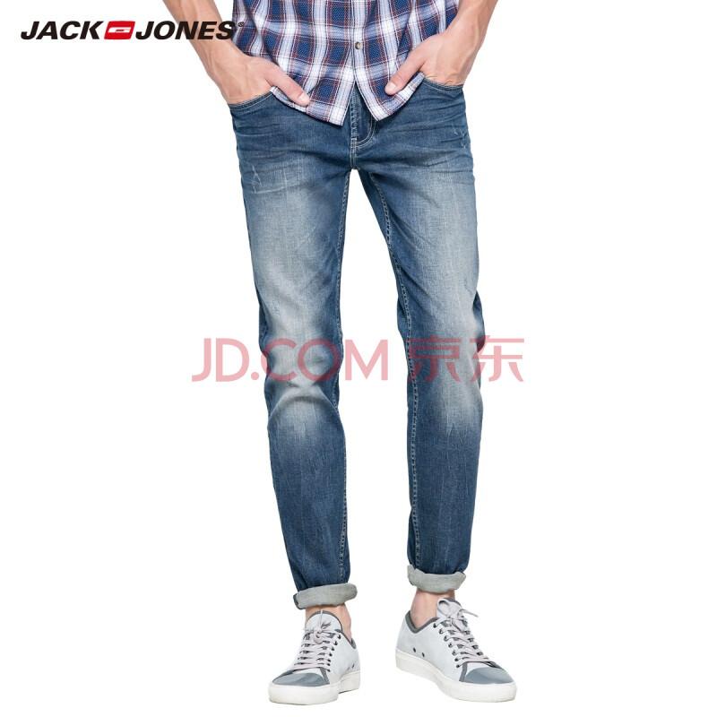 杰克琼斯JackJones牛仔裤含莱卡男装重水洗修身直筒牛仔长裤C|215332012 175/MR