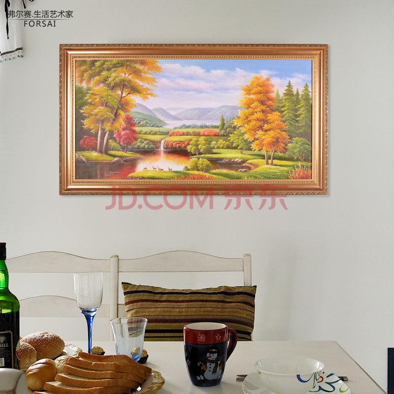 油画卧 装饰画客厅沙发背景墙画风景山水挂画纯手绘画