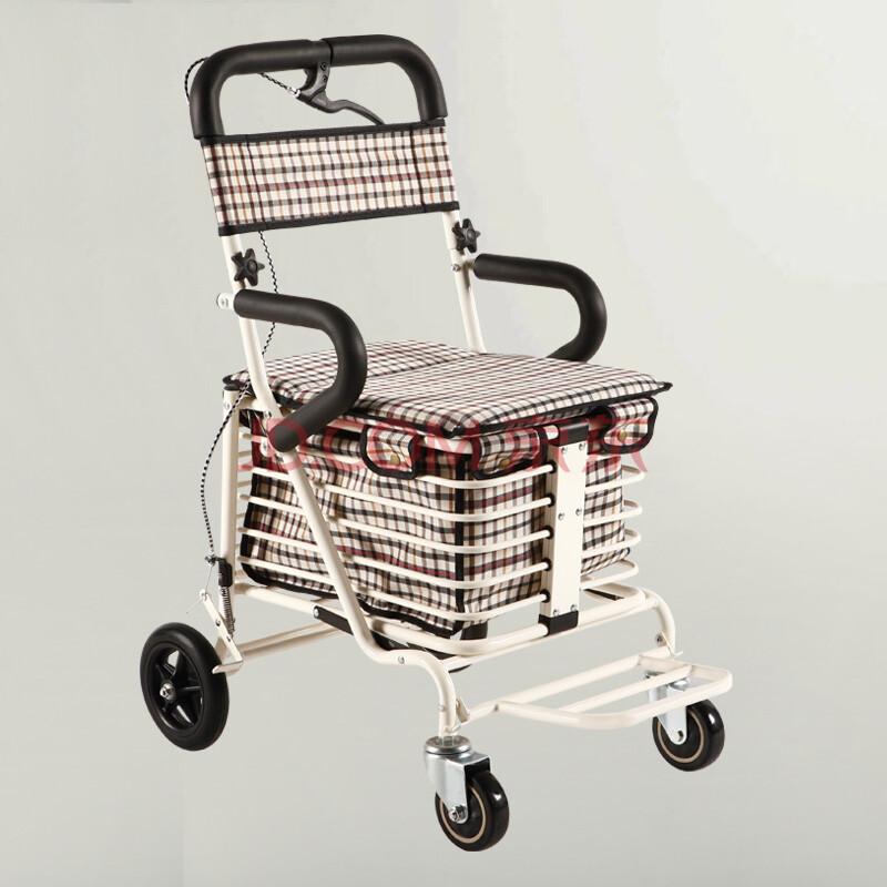 健喜老年购物 助行 休闲 代步 辅助买菜车 可折叠 刹带踏板 储物车手推车可推可座小拉车