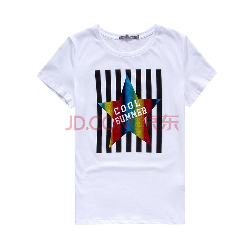 森马2015夏装新款短袖t恤女士韩版圆领印花百搭针织t恤衫女专柜款图片