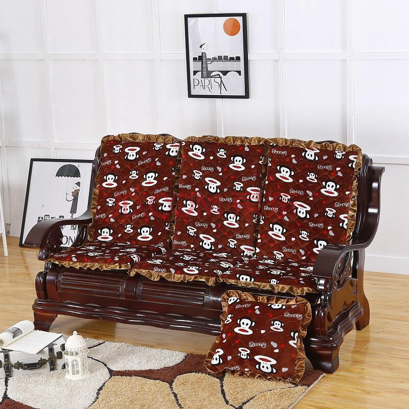 加厚实木沙发垫带靠背毛绒防滑长椅垫木头红木组合海绵坐垫可拆洗