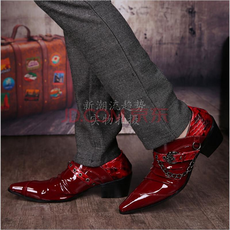 发型师时尚皮鞋男士皮鞋尖头英伦韩版高跟图片