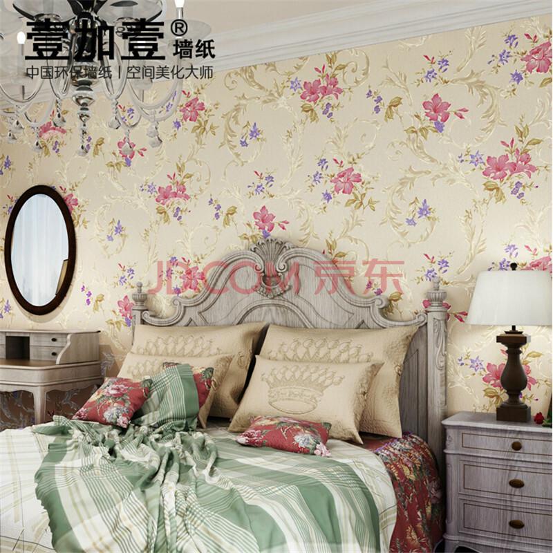壹加壹环保墙纸 客厅卧室温馨大花 碎花立体鎏金美式复古田园壁纸图片