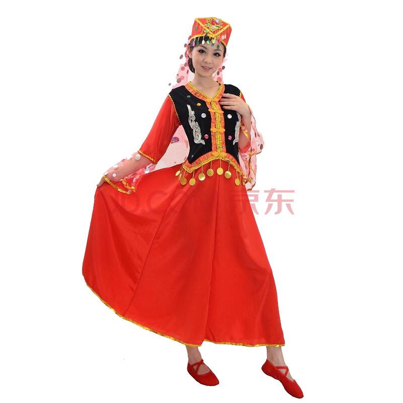 新疆舞蹈服少数民族服装维吾尔族修身简约时尚演出服少数民族舞台表演