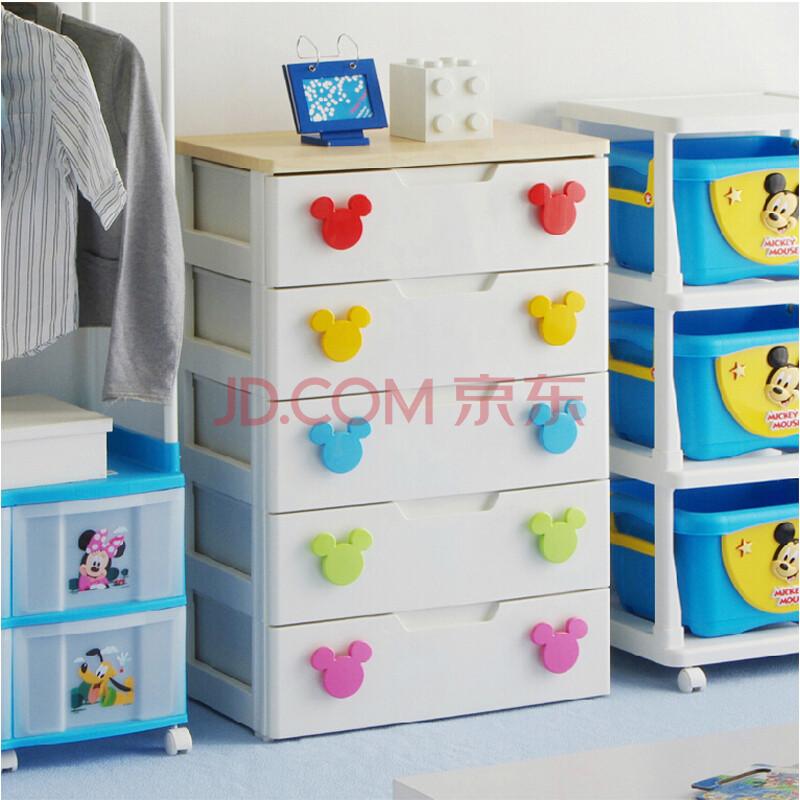 爱丽思iris卡通米奇儿童环保塑料抽屉式收纳柜衣物整理柜 红 黄 蓝 绿
