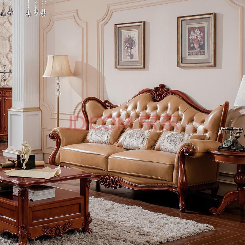 美式实木沙发 欧式沙发 实木真皮沙发 美式牛皮沙发 客厅组合沙发 皮