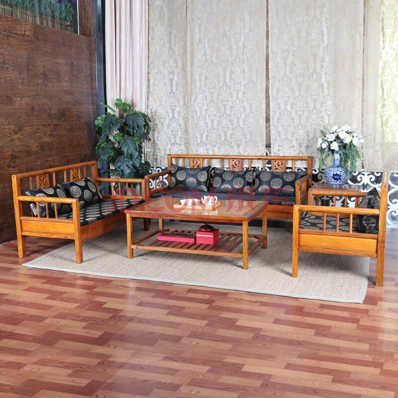 匡家 实木沙发 现代中式客厅沙发茶几 非洲花梨木三人