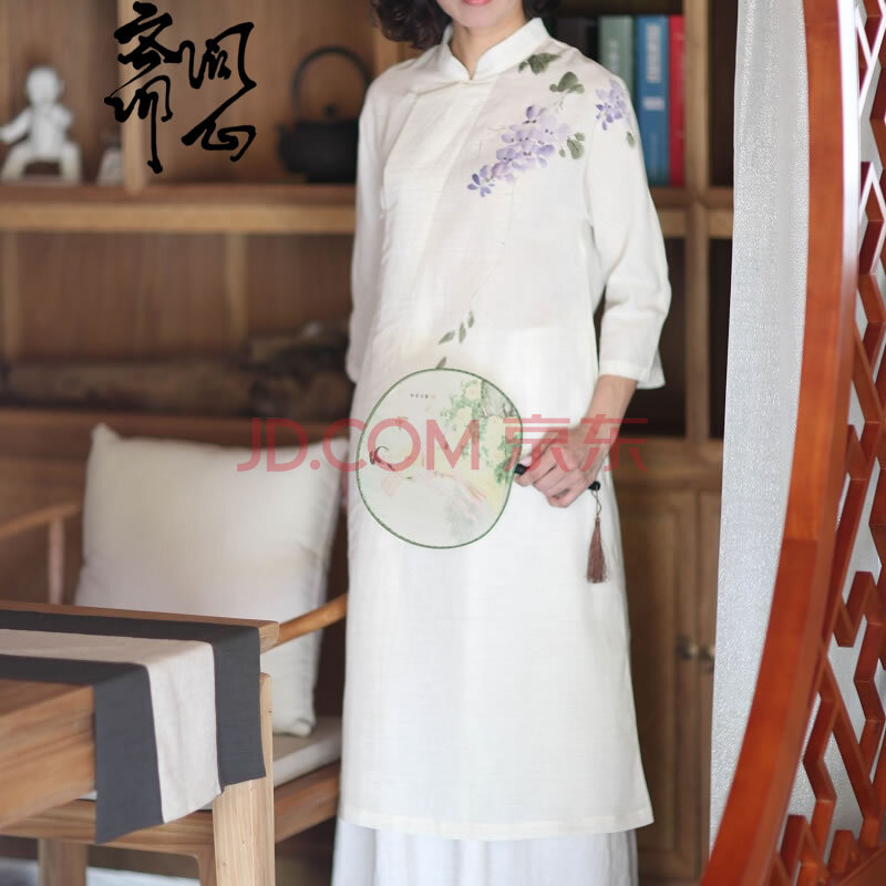 花开芬芳 手绘旗袍领连衣裙 长裙 最后2件l码1711 模特一身 旗袍 衬裙