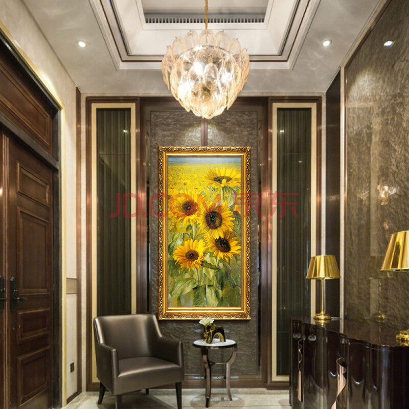 恒美 欧式高档手绘装饰画向日葵花园景油画门厅玄关过道壁画挂画hd100