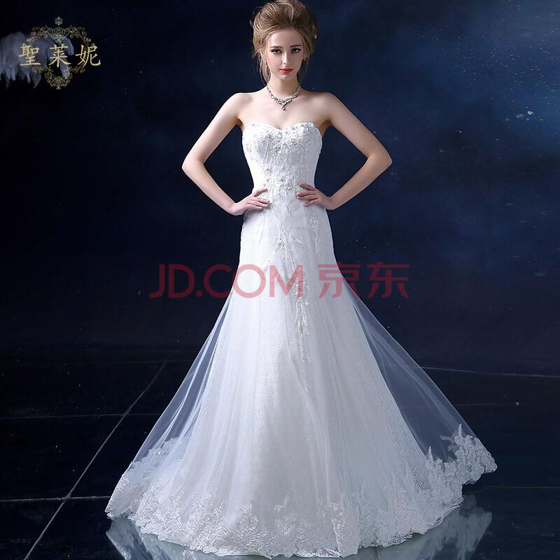 圣莱妮婚纱礼服2015夏季新款a字裙抹胸婚纱欧式白色