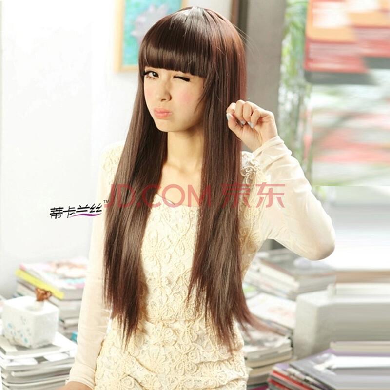 假发 长直发 女 长发 齐刘海 中长 发型 逼真时尚女生图片