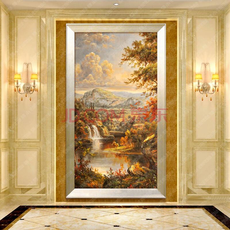 驿尚 高档玄关装饰画单幅竖版纯手绘油画有框画欧式墙