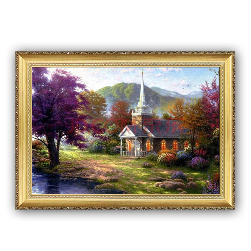 奇野 高档欧式山水风景油画 手绘 玄关走廊装饰画挂画现代客厅壁画