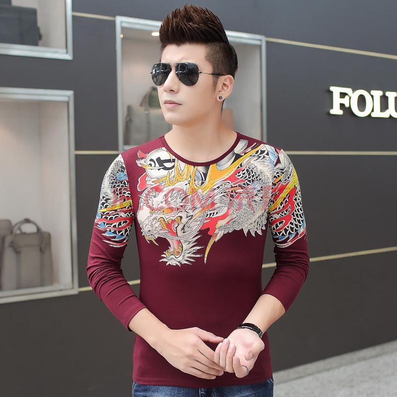 中国风霸气圆领长袖t恤男士龙图腾印花纹身打底衫古惑仔个性衣服 酒