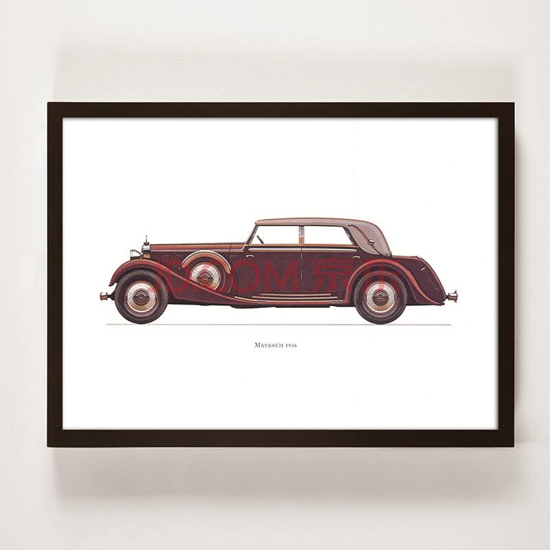 手绘图纸有框装饰画 工业风书房背景墙挂画壁画老爷车复古汽车 mwq-x