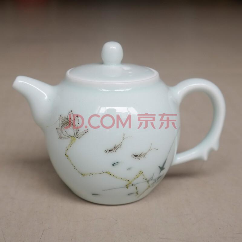 御豪景德镇陶瓷手绘荷花青釉仿古小茶壶 高档礼品瓷 居家日用 摆件 温
