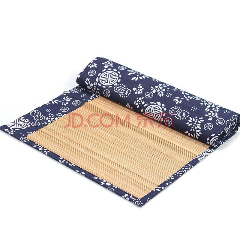 联合家用 青花布竹子茶席麻布桌手工编织竹帘竹席竹垫