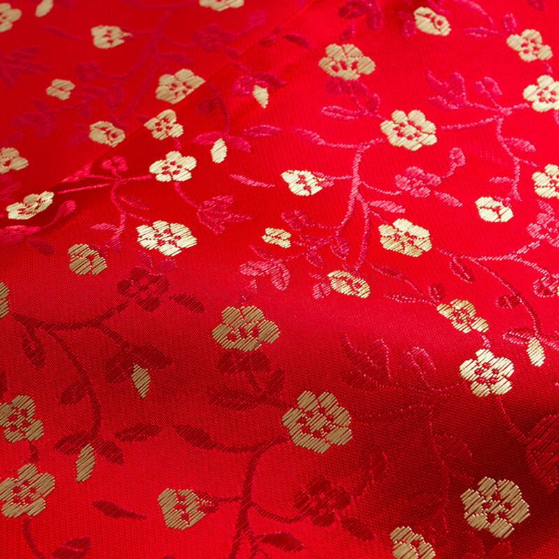 晶照红唐装织锦缎布料 仿古布料 凤尾花纹 旗袍布料 古装汉服旗袍等
