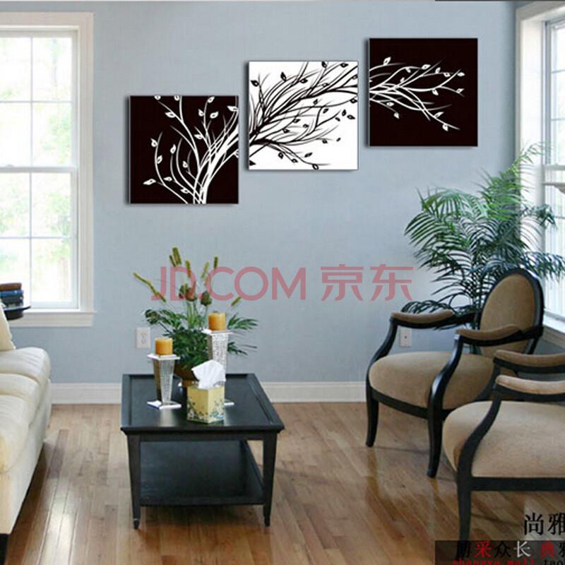纯手绘油画 装饰画无框画壁画挂画墙画楼梯画黑白画发财树简约 50年不