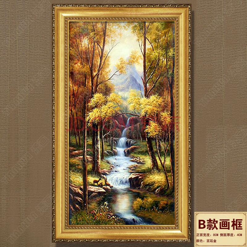 添画 简欧竖款风景画纯手绘油画 玄关山水风景挂画 走廊墙壁画 b款