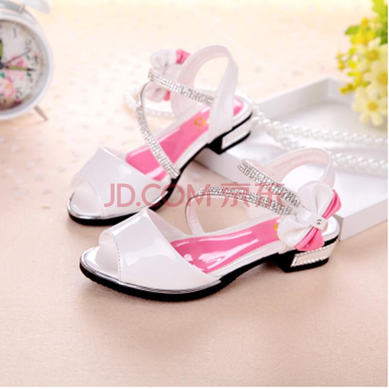儿童鞋女童凉鞋真皮韩版女大童白色学生鞋公主鞋正品