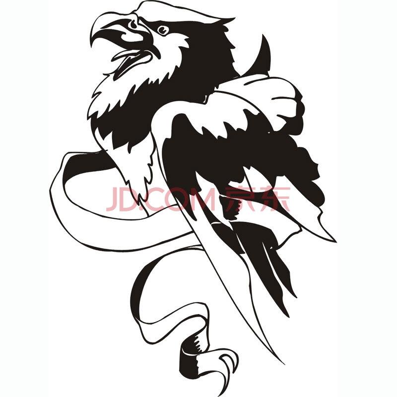 手绘黑白鹰图腾