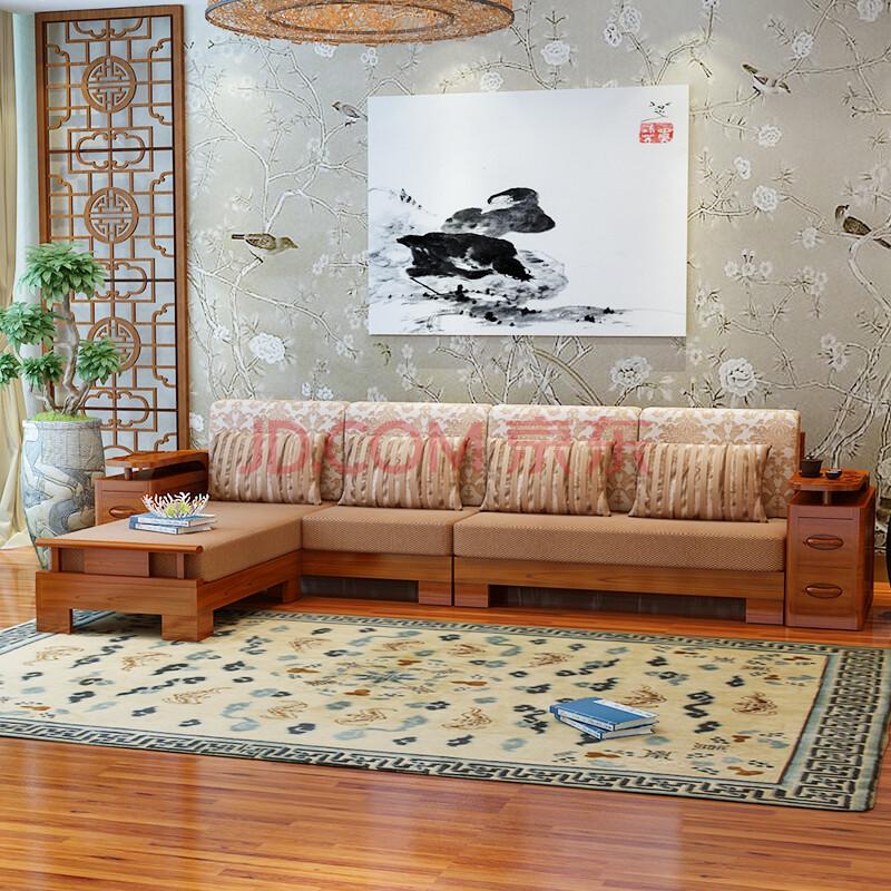 三惠利 实木沙发客厅家具水曲柳l型沙发组合贵妃沙发 h22 茶青色 500