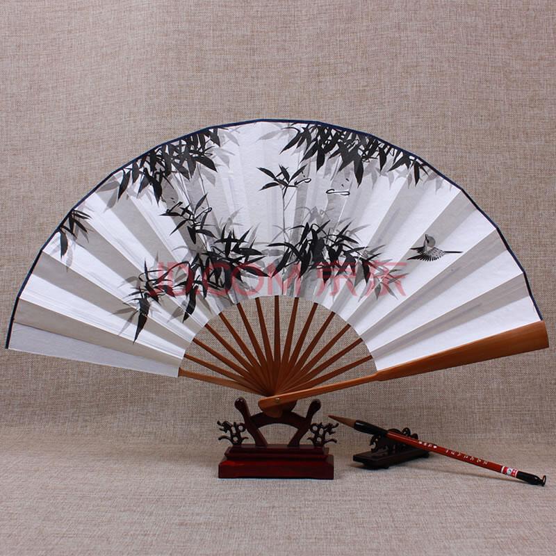 合缘礼坊一尺手绘宣纸扇中国风空白扇子古风折扇男写字题字书法绘画竹