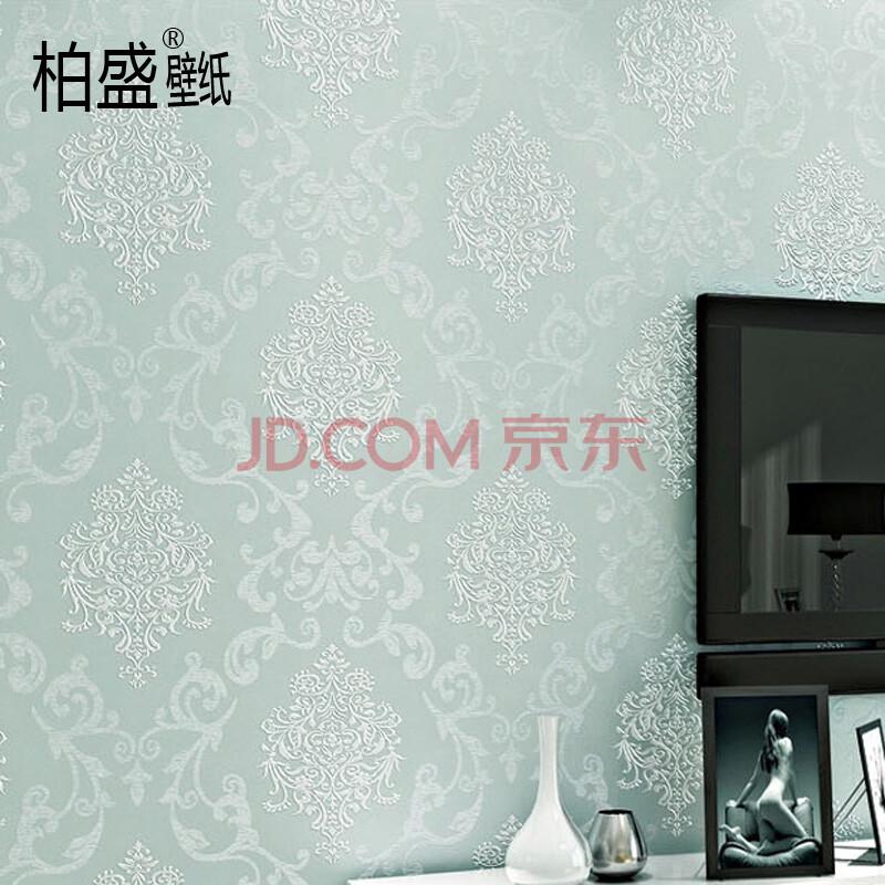卧室客厅电视背景墙纸浅蓝色