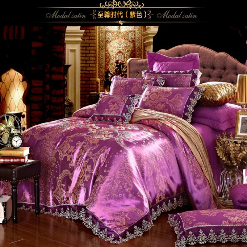 馨享家家纺床品套件欧式贡缎提花莫代尔四件套 至尊时代 紫色 适用于2图片