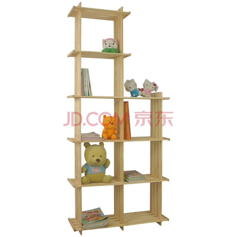 宜哉 松木78cm宽可组合实木书架玩具架二列斜格子书架 斜8-53 19CM深