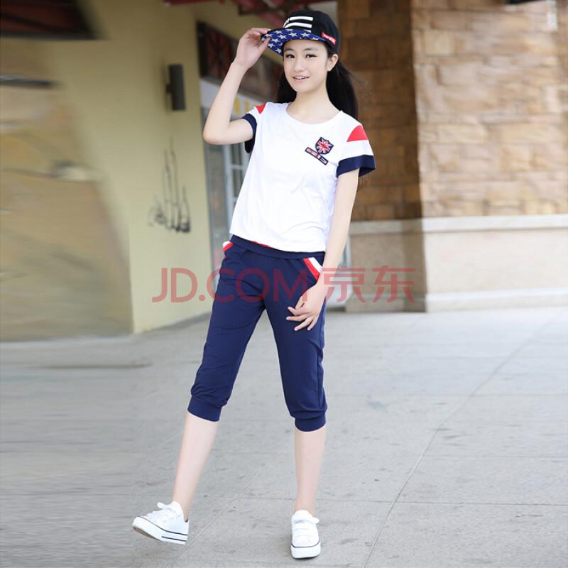 中学生童装2015青少年女装短袖女 夏装运动女孩套装8979 红色 m图片